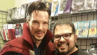 Benedict Cumberbatch visits comic store as 'Doctor Strange'