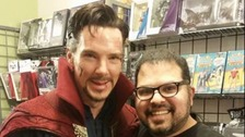 Benedict Cumberbatch at comic store with manager Rene Rosa