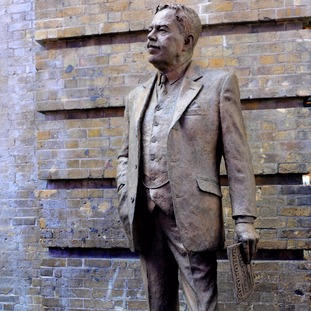 A statue of railway engineer Sir Nigel Gresley is unveiled on the 75th anniversary of his death at King's Cross railway station, London.