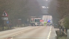 The scene of the crash on the A47