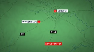 The A140 was closed in Long Stratton after a pavement 'explosion' send flames 15 feet into the air