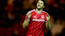 Middlesbrough's George Friend celebrates after the final whistle