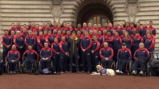 Prince Harry and some of the UK team