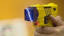 Tasers fire barbs connected to a battery