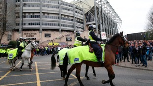 Police patrol on horseback before the Barclays Premier League match at St James' Park, Newcastle.