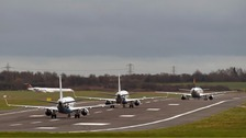 The runway at Birmingham Airport