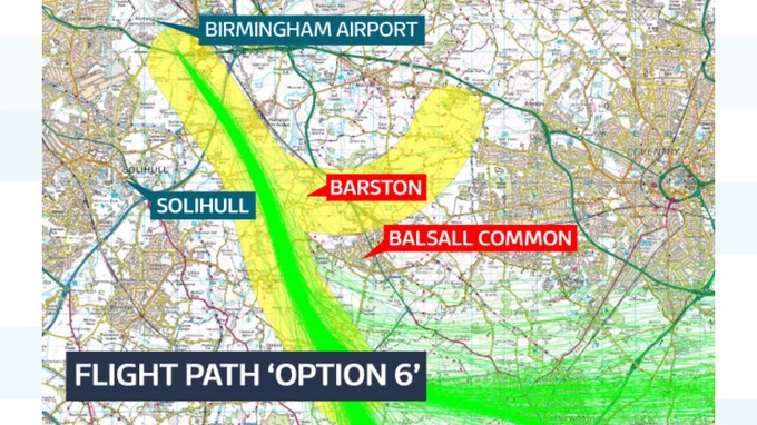 The Option 6 flight path