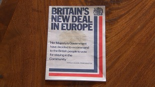 The Government distributed a leaflet called 'Britain's New Deal in Europe' in 1975.