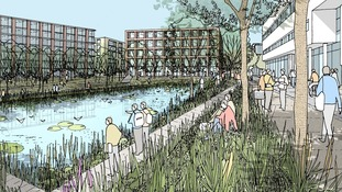 Artist's impression of Lincoln University's Brayford Campus in ten years