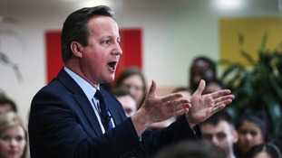 Prime Minister David Cameron speaking to students at Exeter University
