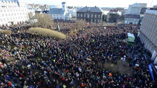 A protest in Iceland following the release of the so-called Panama Papers
