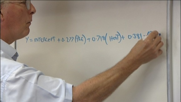 Professor Alan Nevill writes out the formula he used