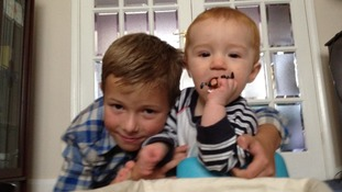 Baby Tyler (right) was born after a third attempt of IVF