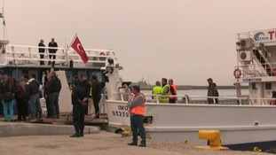 The ferry on Friday morning carried 45 migrants