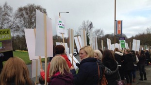 Assistant teachers protest outside Durham Council over proposed changes to their contracts.