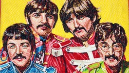 A portrait of The Beatles made out of jelly bean