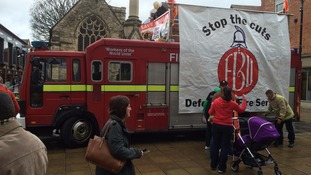 Fire fighters' rally against cuts in Lincoln