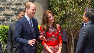 William and Kate talked to staff as they were greeted at the entrance of the hotel.