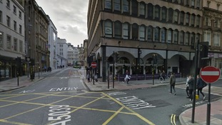 A member of door staff was stabbed in the stomach outside the Slug and Lettuce bar on North John Street late on Saturday evening.