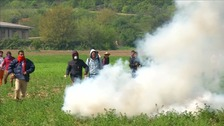 tear gas fired at protesters