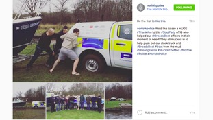 Norfolk Police thanked the stag party for helping out in 'their moment of need'