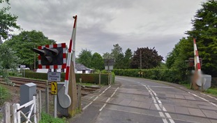 The level crossing at Keswick in Norfolk where a person was hit by a train on the line.