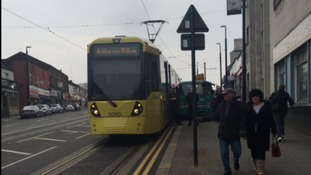 Pictures show moment after lorry and tram collide