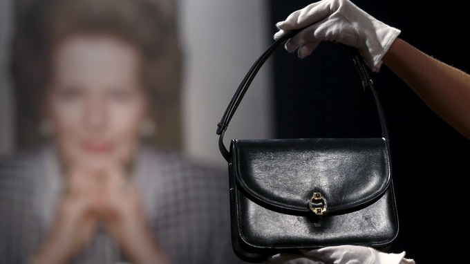 A navy blue leather handbag - part of Margaret Thatcher's personal collection.