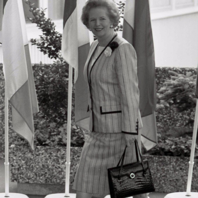 Margaret Thatcher, pictured in 1988, on way to a EU summit in Hanover, with her handbag.