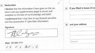 He appears to sign off the tax return a week past the January 31 deadline