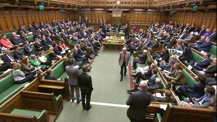 Skinner leaves the Commons after being ordered out by the Speaker.
