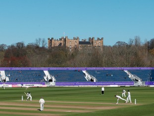 Durham County Cricket club's stand with Lumley Castle in the background