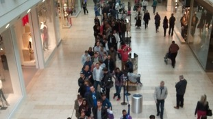 Crowds turned up outside the Apple store long before it opened