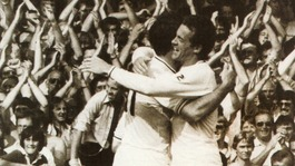 Swansea City Legend Alan Curtis pictured with striker Bob Latchford during the highly successful John Toshack era