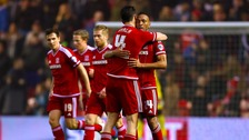 Middlesbrough's Emilio Nsue (right) celebrates scoring his side's first goal of the game