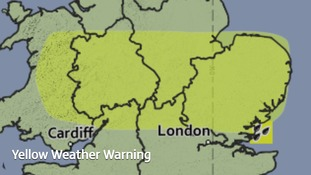 The area covered by a yellow weather warning for heavy showers and thunderstorms on Thursday afternoon.