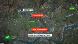 Map of where the toddler disappeared and where she was found