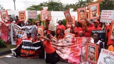 Protesters demand action over the missing Chibok schoolgirls.