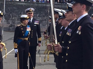 The Princess Royal has been at a parade at Dartmouth's Britannia Royal Naval College