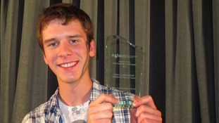 Alex Searle with his national award