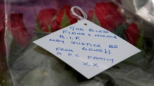 "Note that reads: ""God bless Fiona + Nicola. RIP. May justice be done!! From a PC family xx"""
