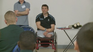 Ben Parkinson gives talk to Gateshead school children.
