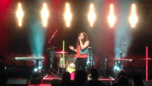 Danielle on stage at Newcastle College