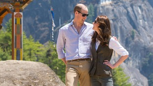 William and Kate enjoy the view on trek to Tiger's Nest monastery