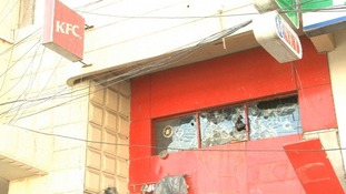 KFC damaged in Karachi.