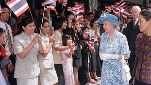 Queen Elizabeth II in Bangkok, Thailand in 1996