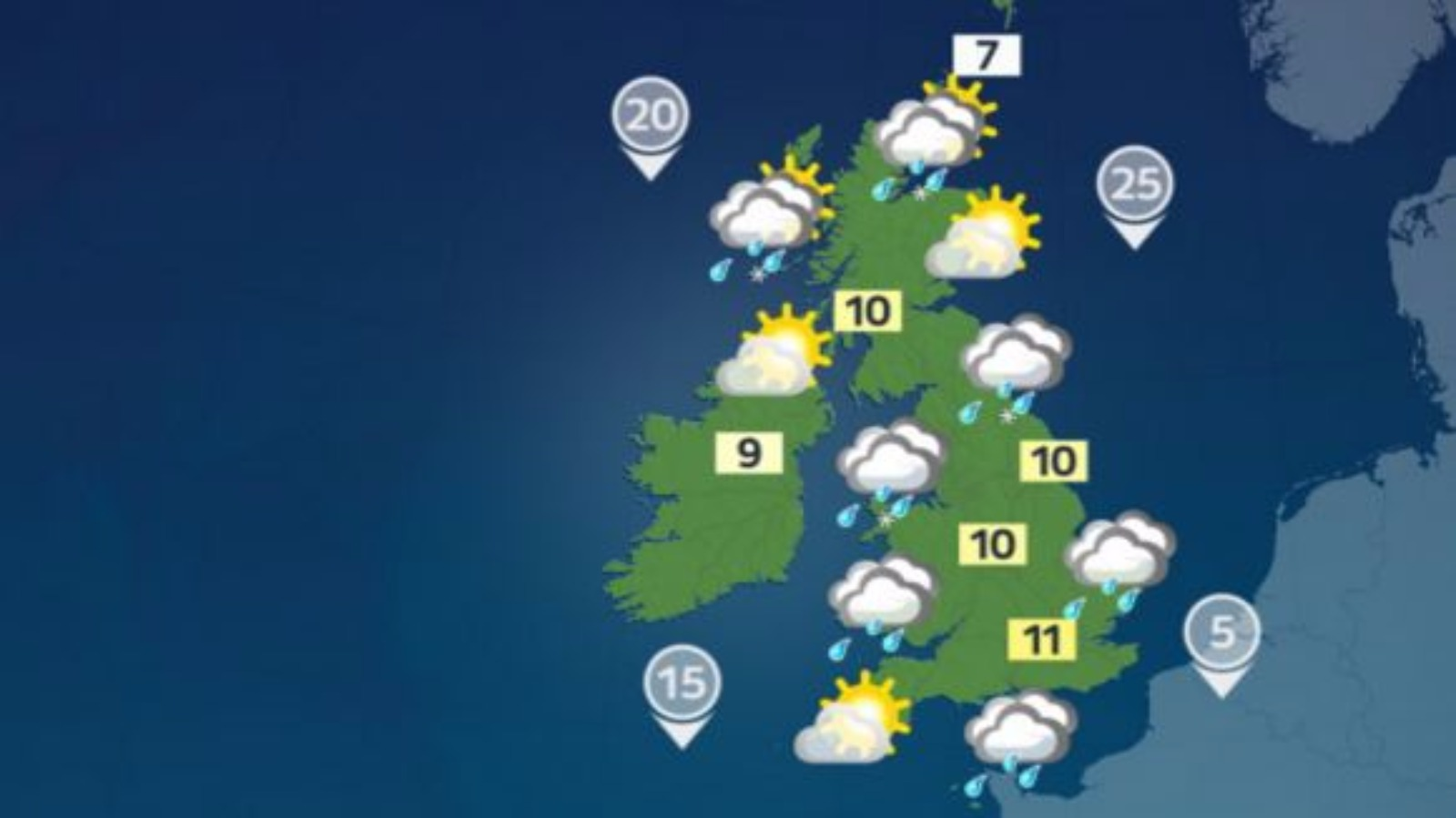 Weather: Rain, sunny spells and showers following