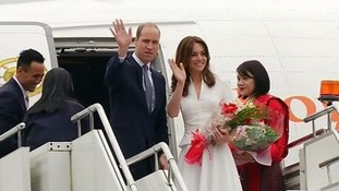 The Duke and Duchess wave goodbye to Bhutan.