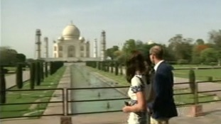 The Duke and Duchess of Cambridge arrive to visit the Taj Mahal.