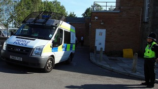 Police van arriving at Caerphilly Magistrates Court